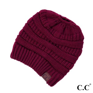 Messy-bun, C.C beanie in burgundy. 100% acrylic.