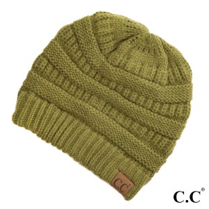 "The original C.C beanie style in olive. 100% acrylic. Measures 9.5"" in diameter and 8"" in length."