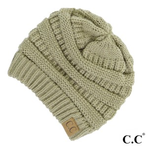 "The original C.C beanie style in new sage. 100% acrylic. Measures 9.5"" in diameter and 8"" in length."