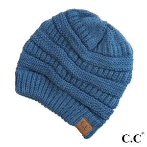 "The original C.C beanie style in dark denim. 100% acrylic. Measures 9.5"" in diameter and 8"" in length."
