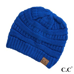 "The original C.C beanie style in royal blue. 100% acrylic. Measures 9.5"" in diameter and 8"" in length."