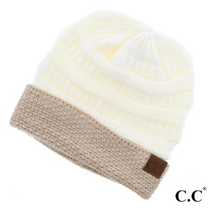C.C HAT-48  Boucle cuff beanie  - 100% Acrylic - One size fits most