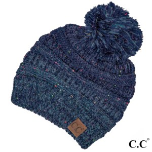 Cable knit, confetti print C.C beanie with pom pom, in navy. 100% acrylic.