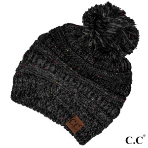 Cable knit, confetti print C.C beanie with pom pom, in black. 100% acrylic.