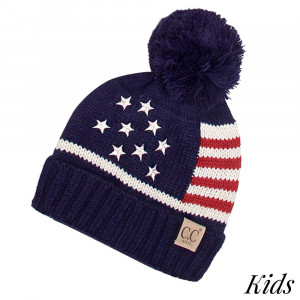 "C.C DA-4  American Flag knit beanie with knit pom for kids  - 100% Acrylic - Band circumference is approximately:  14"" unstretched  18"" stretched - Approximately 7"" long from crown to band - Fit varies based on child's head height and shape"