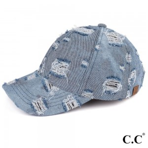 C.C brand vintage denim baseball cap. 100% cotton. One size fits most.