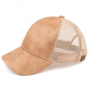C.C brand faux distressed leather and mesh baseball cap. 100% polyester. One size fits most.