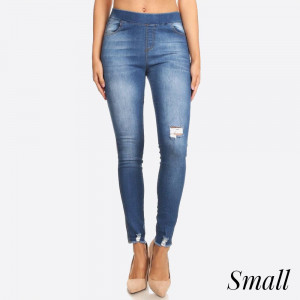 Women's Classic Distressed Skinny Jeggings. These jeggings are styled to resemble a pair of jeans. Get both comfort and style!   - Super Stretchy  - Pull up Style   Composition: 76% Cotton, 22% Polyester, 2% Spandex  Small only.
