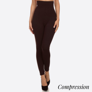 """High Waist Compression Leggings. Tummy Control for extra hold. These high waist leggings have a compression control top that flattens your tummy and contours your waistline for an hourglass silhouette.   - Long, skinny leg design  - Does not ball or pill  - Comfortable and easy pull-on style  - Solid color  - Very Stretchy   - Tummy Control  - Hight Waist  - 8"""" Waist Band, 37"""" Full Length   One size fits most 0-14.  Content: 55% viscose, 40% polyester, 5% spandex"""