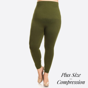 """High Waist Compression Leggings. Tummy Control for extra hold. These high waist leggings have a compression control top that flattens your tummy and contours your waistline for an hourglass silhouette.   • Long, skinny leg design  • Does not ball or pill  • Comfortable and easy pull-on style  • Solid color  • Very Stretchy  • Tummy Control  • Hight Waist  • 8"""" Waist Band, 37"""" Full Length   One size fits most Plus 16-22.  Content: 55% viscose, 40% polyester, 5% spandex"""