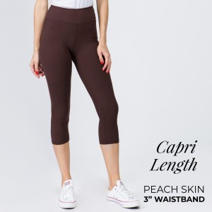 "These New Mix Brand peach skin leggings are seamless, chic, and a must-have for every wardrobe. These lightweight, capri-length leggings have a 3"" waistband. They are versatile, perfect for layering, and available in many colors. 92% Polyester 8% Spandex. One size fits most, fits US women's 0-14."