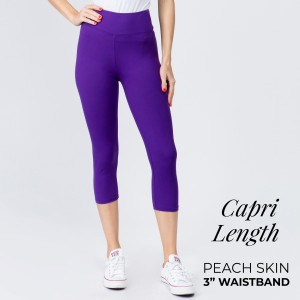 """These New Mix Brand peach skin capris are seamless, chic, and a must-have for every wardrobe. These lightweight, capri leggings have a 3"""" waistband. They are versatile, perfect for layering, and available in many colors. 92% Polyester 8% Spandex. One size fits most 0-14."""