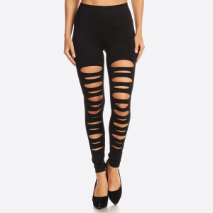 These sexy leggings are an instant day-to-night essential. The ripped design is cool and fulfills a strong sense of punk style.   - Long, skinny leg design  - High Waisted  - Cut out side Detail  - Pull-on styling  - Hand Wash Cold. Do not bleach. Hang Dry. - Imported   Size: One size fits most 0-14  Composition: 92% Nylon, 8% Spandex