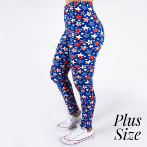 "PLUS SIZE peach skin 4th of July full-length leggings featuring stars and stripes. Inseam approximately 26"".  - One size fits most 16-20  - Composition: 92% Polyester, 8% Spandex/Elasthanne"