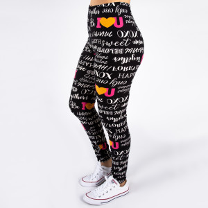 "Peach skin ""I Love You"" print full-length leggings. Inseam approximately 26"".  - One size fits most 0-14  - Composition: 92% Polyester, 8% Spandex/Elasthanne"