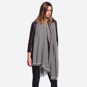 "Houndstooth printed scarf with short fringes.   - Approximately 32"" W x 80"" L - 100% Acrylic"