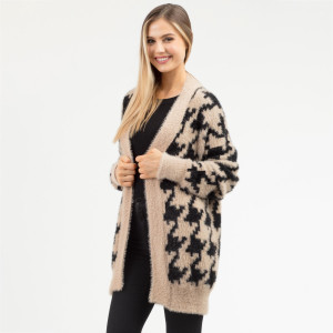 "Heavyweight houndstooth cardigan.  - One size fits most 0-14 - Approximately 30"" in length - 50% Nylon, 50% Acrylic"