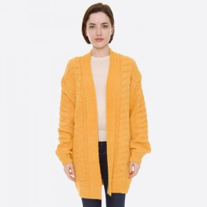 "Solid color chenille knit cardigan.  - One size fits most 0-14 - Approximately 31"" in length - 70% Polyester, 30% Polyamide"