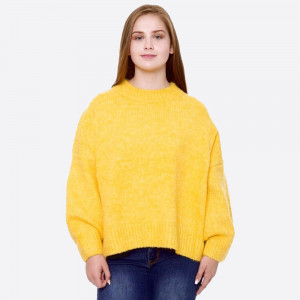 """Solid color ribbed knit sweater with 3/4 sleeve.  - One size fits most 0-14 - Approximately 25"""" L - 70% Polyester, 30% Acrylic"""