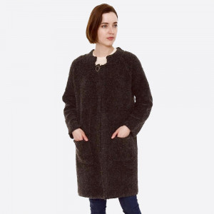 "Heavyweight terry loop cardigan with front pocket details and button closure.  - One size fits most 0-14 - Approximately 32"" in length - 80% Acrylic, 20% Polyamide"