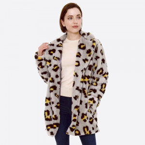 """Faux fur leopard print coat with crepe satin inside lining.  - Two front functional pockets - Hook and eye closure - One size fits most 0-14 - Approximately 33"""" in length - 100% Polyester"""