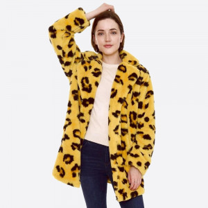 """Faux fur leopard print coat with hook and eye closure and pocket details.  - One size fits most 0-14 - Approximately 33"""" in length - 100% Polyester"""