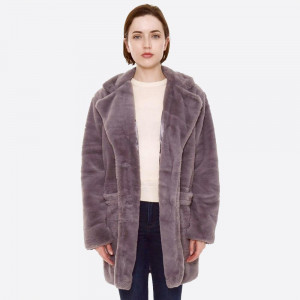 """Faux fur coat with crepe satin inside lining.  - Two functional front pockets - Button closure - One size fits most 0-14 - Approximately 33"""" in length - 100% Polyester"""