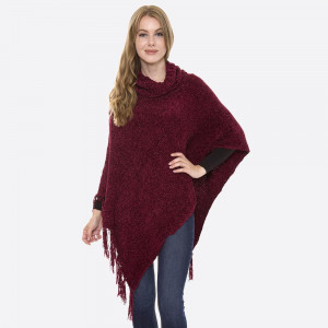 """Chenille knit turtleneck poncho with fringe tassels.  - One size fits most 0-14 - Approximately 37"""" L - 100% Acrylic"""