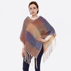 "Soft touch check plaid fuzzy knit poncho with oversized fringes.  - One size fits most 0-14 - Approximately 37"" in length - 100% Acrylic"