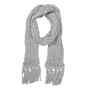 """Chunky knit oblong scarf with fringes.  - Approximately 5"""" W x 90"""" L  - 100% Acrylic"""