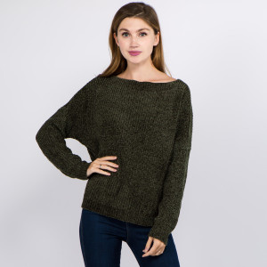 """Solid color chenille knitted sweater.  - One size fits most 0-14 - Approximately 21"""" in length - 100% Polyester"""