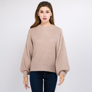 """Solid color knitted balloon sleeve sweater.  - One size fits most 0-14 - Approximately 22"""" in length  - 100% Acrylic"""
