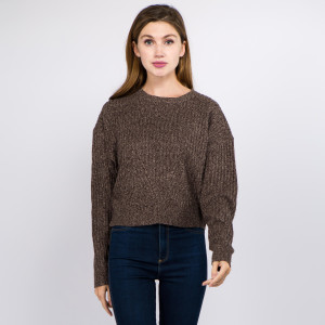 "Solid color heather knitted crop sweater.  - One size fits most 0-14 - Approximately 19"" in length - 100% Polyester"