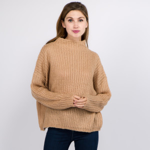 """Solid color chunky knit turtleneck sweater.  - One size fits most 0-14 - Approximately 22"""" in length - 100% Acrylic"""