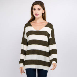 """Soft touch stripe knitted sweater.  - One size fits most 0-14 - Approximately 24"""" in length - 70% Acrylic, 27"""" Polyamide, 3% Spandex"""
