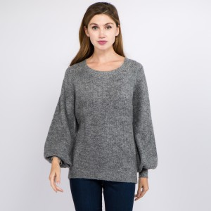 """Solid color knitted balloon sleeve sweater.  - One size fits most 0-14 - Approximately 23"""" in length - 70% Acrylic, 27"""" Polyamide, 3% Spandex"""