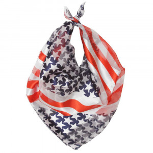 "Lightweight stars and stripes bandanna scarf. Approximately 20"" x 20"" in size. 100% Polyester."