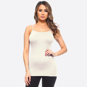 "Solid color seamless camisole tank top.  • Spaghetti straps  • Seamless design for extra comfort  • Longline hem  • Soft and stretchy  • Fits like a glove  • Perfect for layering under sheer tops or by itself  • Imported   - One size fits most 0-14 - Approximately 18"" in length - Composition: 92% Nylon, 8% Spandex"