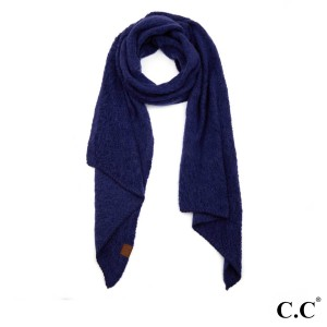 "C.C SF-7006 Bias cut scarf with whipstitched edging  - 100% Polyester - Boucle texture - One size fits most - 16.5"" W x 82"" L - Matches C.C HAT-7006 and G-7006"