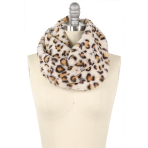 """Faux fur leopard print tube scarf.  - Approximately 11.5"""" W x 15.5"""" L - 100% Polyester"""