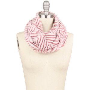 "Faux fur herringbone print twisted tube scarf.  - Approximately 15.75"" W x 11.75"" L - 100% Polyester"