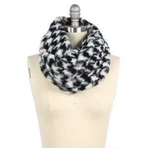 "Faux fur houndstooth tube scarf.  - Approximately 11.75"" W x 15.5"" L - 100% Polyester"