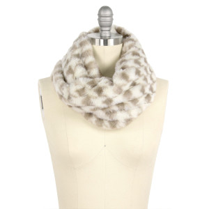 """Faux fur houndstooth tube scarf.  - Approximately 11.75"""" W x 15.5"""" L - 100% Polyester"""