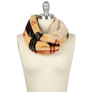 """Faux fur double side plaid print tube scarf.  - Approximately 13.75"""" W x 11.75"""" L - 100% Polyester"""
