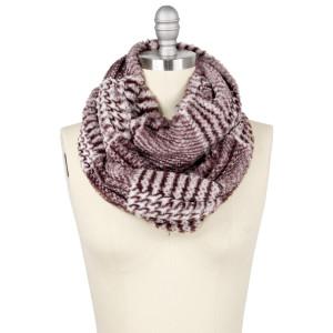 "Faux fur glen check infinity scarf.  - Approximately 7.5"" W x 29.5"" L - 100% Polyester"