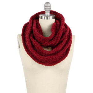 "Solid color knit infinity scarf.  - Approximately 13.5"" W 27.5"" L  - 100% Acrylic"