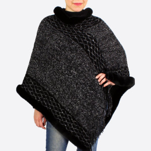 "Faux fur trim knit poncho with fringes.  - One size fits most 0-14 - Approximately 37"" in length - 100% Acrylic"