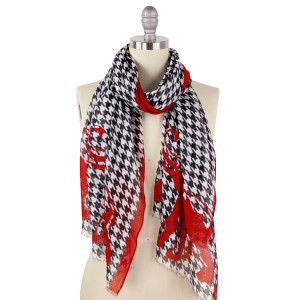 "Lightweight houndstooth and elephant print scarf.  - Approximately 27.5"" W x 70.5"" L  - 100% Polyester"