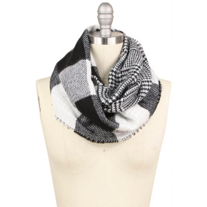 "Buffalo check double side infinity scarf.  - Approximately 15.75"" W x 31.5"" L - 100% Acrylic"