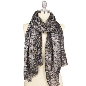 "Lightweight snakeskin print scarf.  - Approximately 35"" W x 70"" L - 100% Polyester"